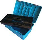 Kunststof schminkkoffer blauw metallic. leeg NH990377