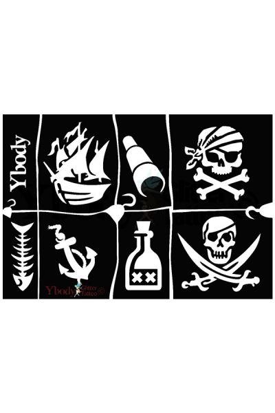 Glittertattoo sjablonen A5 vel thema Pirates / Piraten 41995