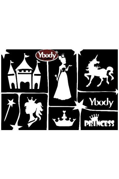 Glittertattoo sjablonen A5 vel thema Princess / Prinsessen 41997