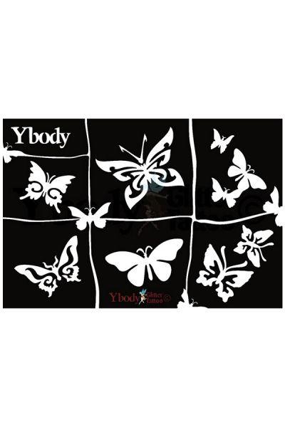 Glittertattoo sjablonen A5 vel thema Butterflies / Vlinders 41991
