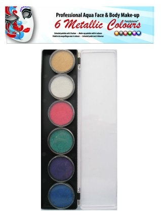 PartyXplosion schminkpalet 6 Metallic Colours 43692
