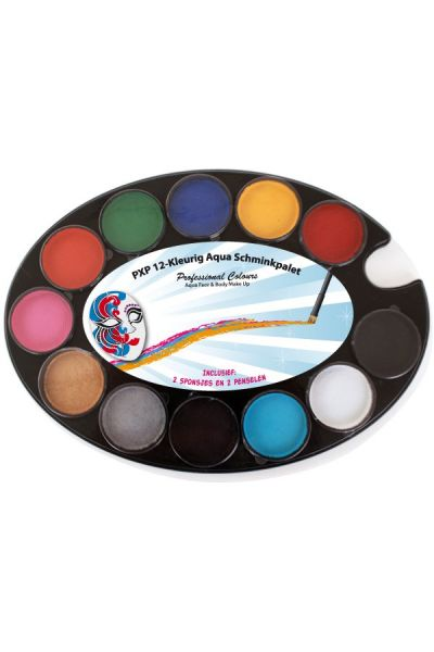 PartyXplosion 12-kleurig Aqua Schminkpalet 43705