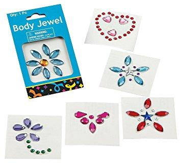 Professional Body Jewels ASSORTI van 6 afbeeldingen PartyXplosion 14421