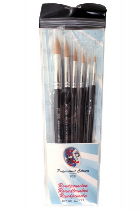 PartyXplosion set van 6 penselen spits rond art.nr.40373