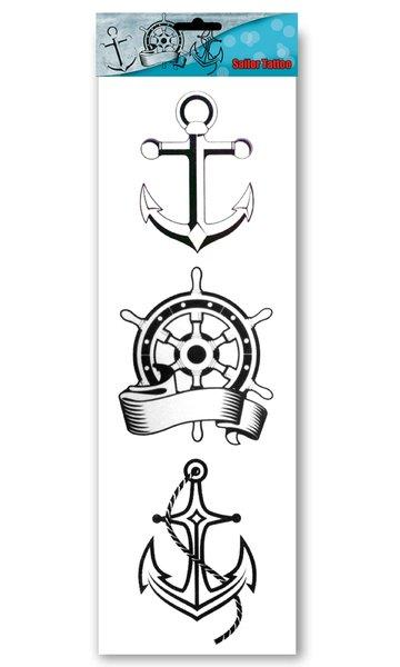 "Tattoo stickervel ""Sailor""3 dessins art.nr.14452"